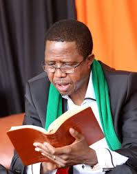 President Lungu reading the Bible